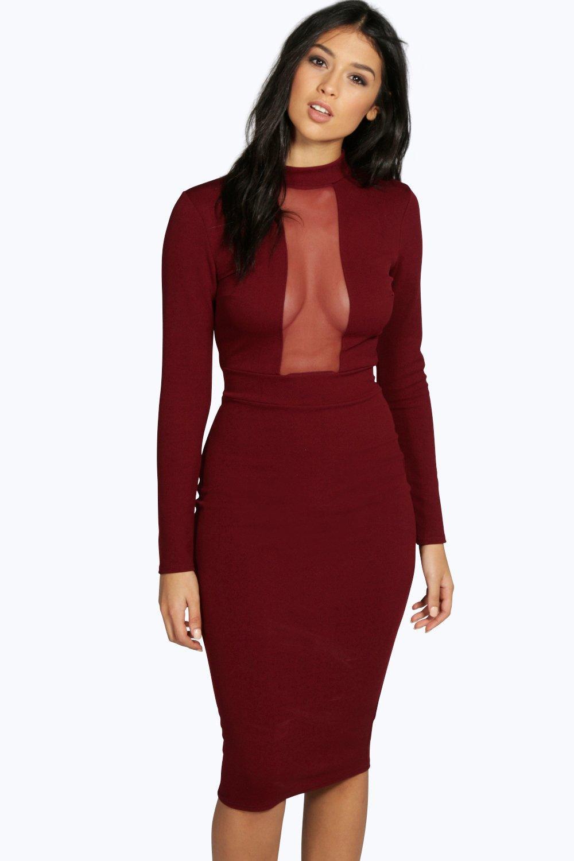 Sleeves bodycon long mesh sleeve dress online