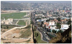 The stark contrast of two nations on either side of the border fence that separates Tijuana, Mexico, and San Diego, U.S.