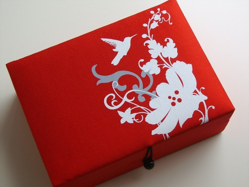 Red bird jewelry box, large