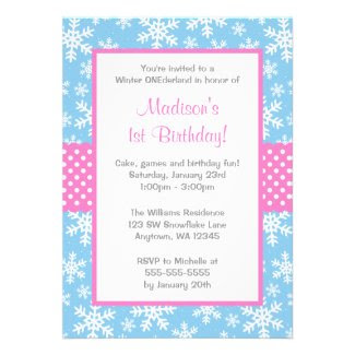 Pink and Blue Snowflakes Winter Onederland Personalized Invitation