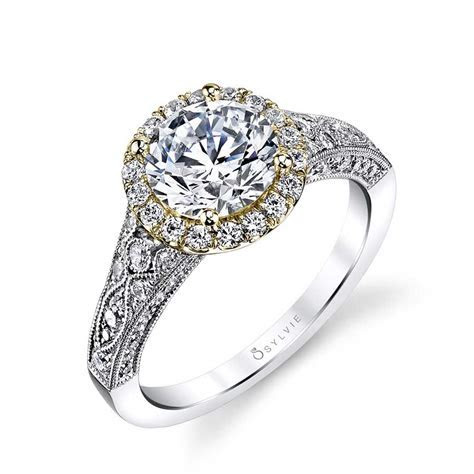 Cheri   Vintage Inspired Halo Engagement Ring   Sylvie