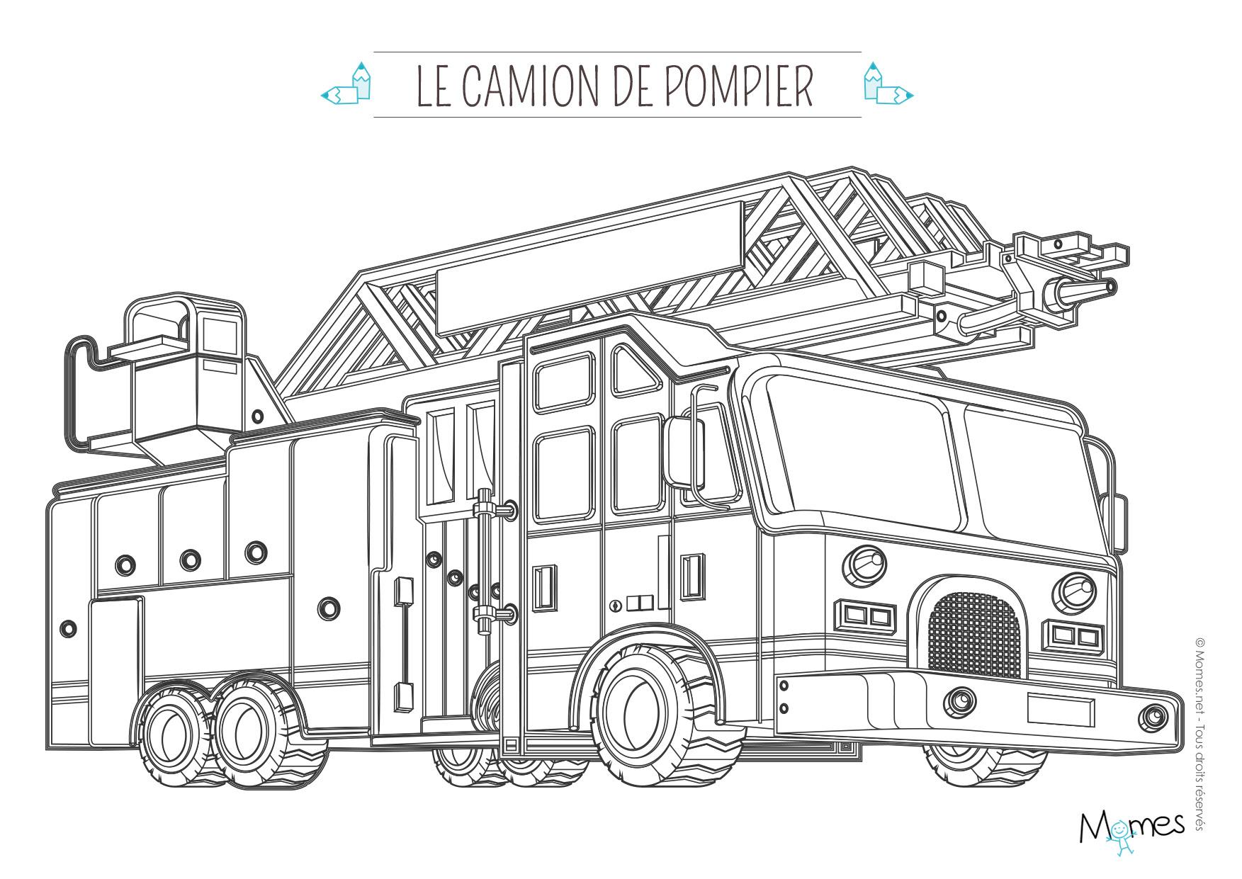 Coloriage camion de pompier avec la grande échelle Imprimer