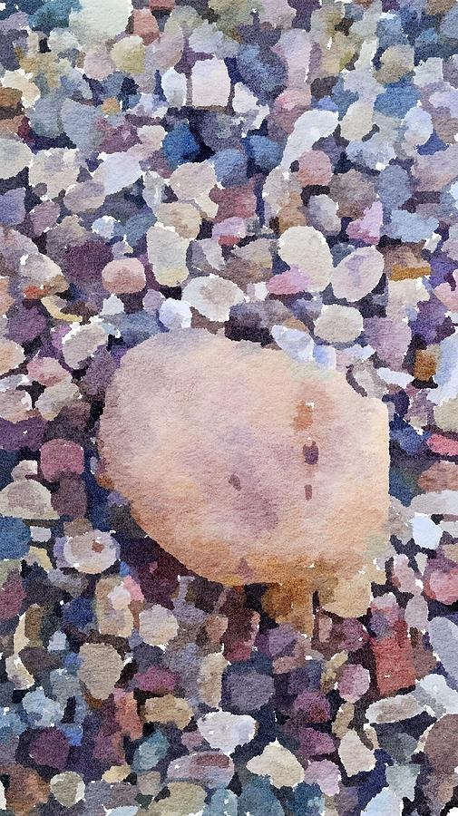 Rock With Pebbles Abstract Watercolor by Leah Lambart