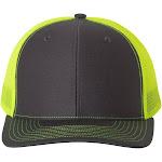 Richardson 112 Snapback Trucker Adjustable Cap, Charcoal/ Neon Yellow