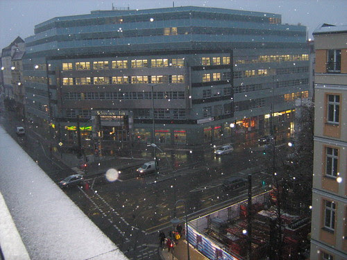 Snowy view from my hostel room in Berlin