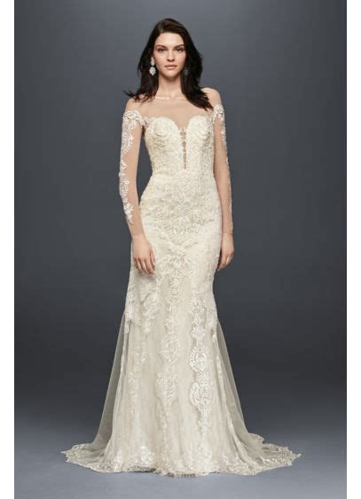 Long Sleeve Illusion Lace Wedding Dress   David's Bridal