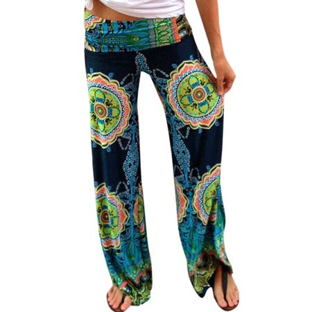Women's Tribal Aztec Printed Wide Leg Fold Over Waist Palazzo Pants Multicolor (Size M \/ 8)