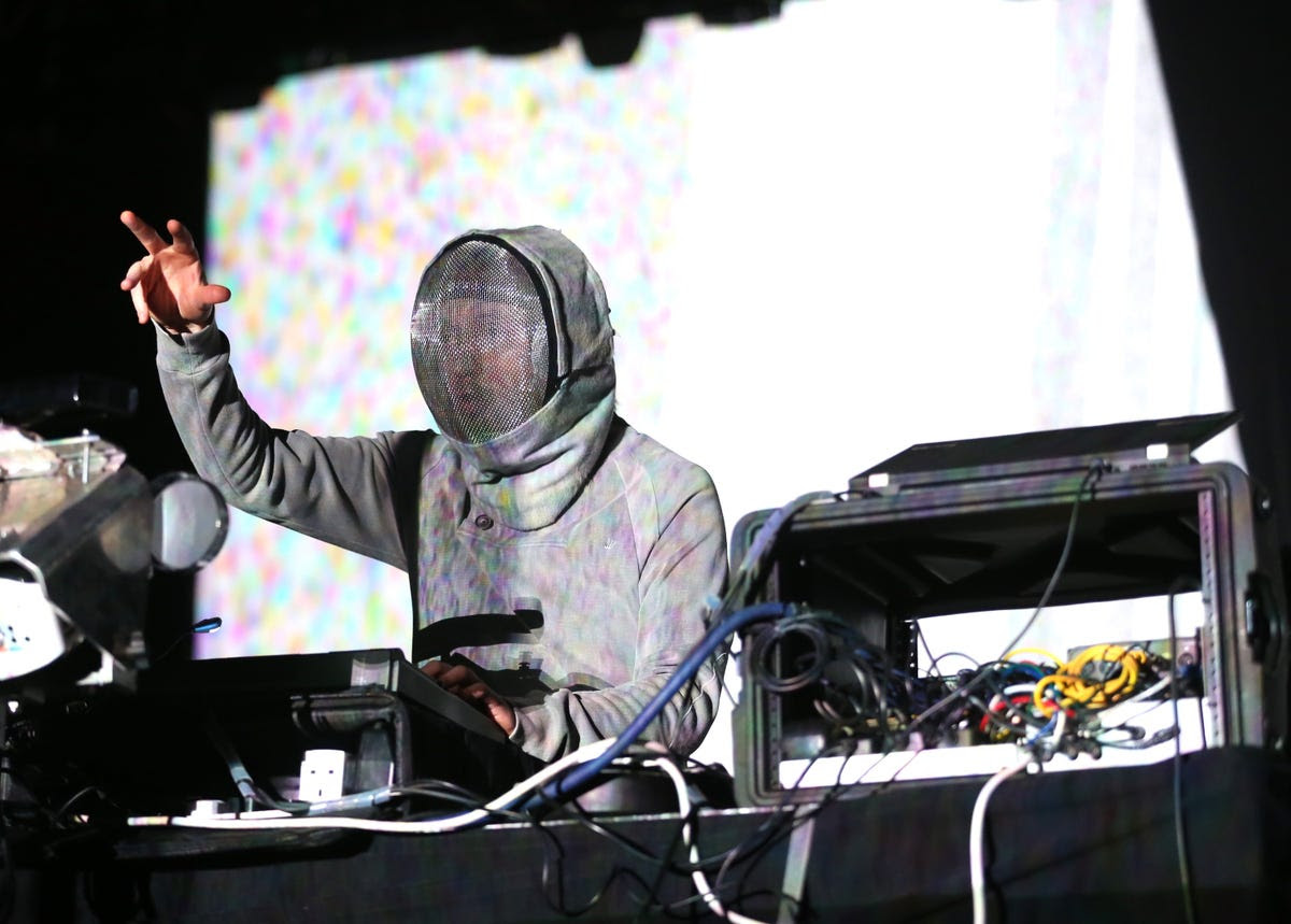 UK-based recording artist Squarepusher bundled up despite the hot desert sun.