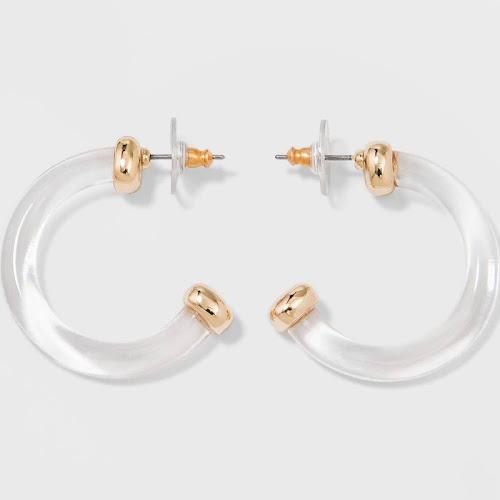 SUGARFIX by BaubleBar Minimal Clear Acrylic Hoop Earrings - Clear, Women's