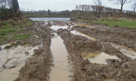 Flooding soil run off Kemble Thames source