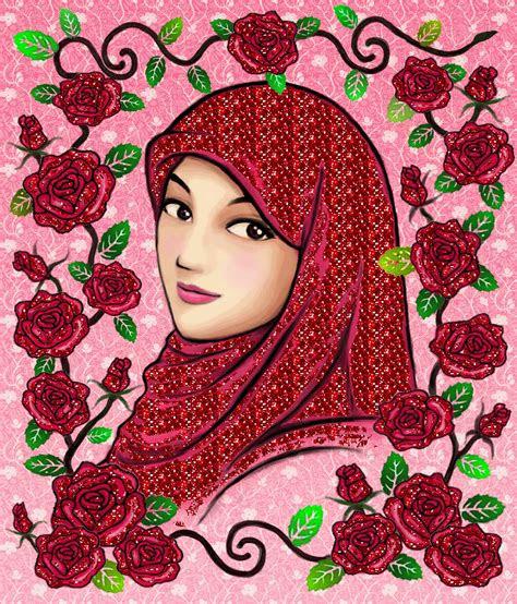 gambar wallpaper kartun hijab gudang wallpaper