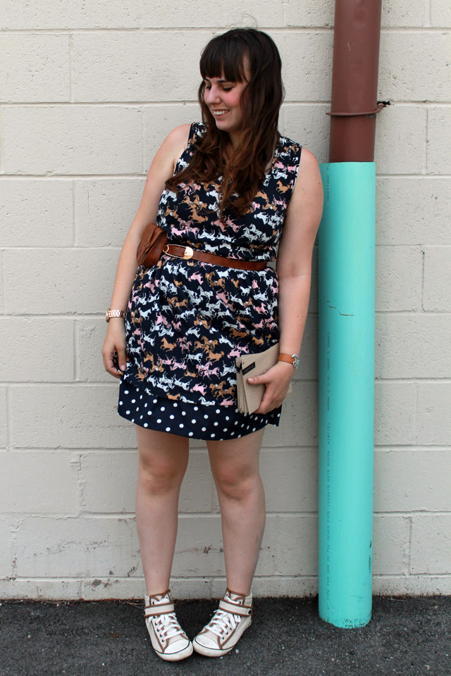 """Save the Date Outfit: Anthropologie horse and polkadot print dress """"Petaluma Peep Hem Dress"""", hand-me-sown kicks, Modcloth leather pouch belt, Jewelmint leather cuff with silver horse"""