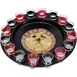 Evelots Casino Shot Glass Roulette Drinking Game Set with 16 Shot Glasses, Black