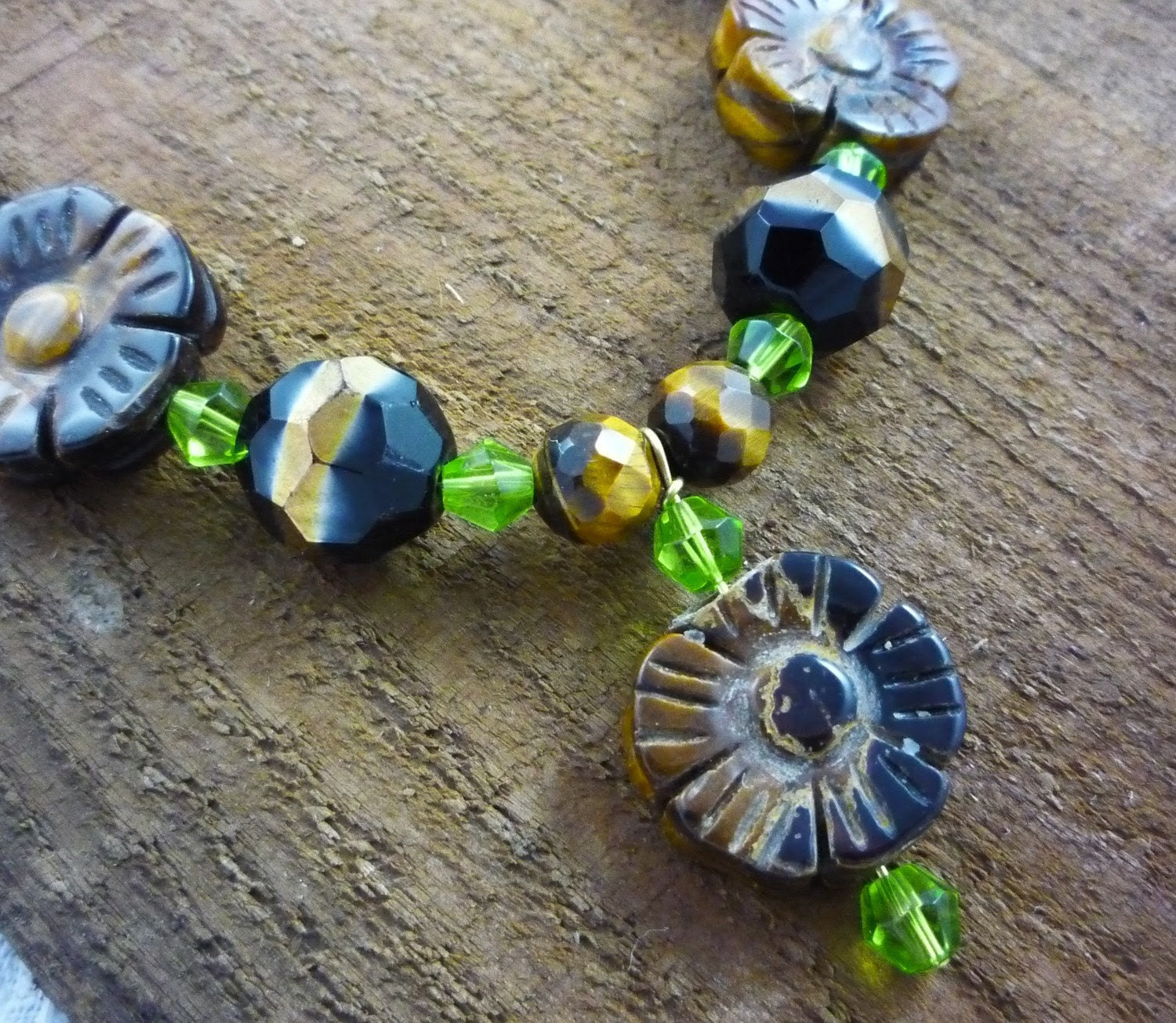 Brown and Green Tiger's Eye Necklace