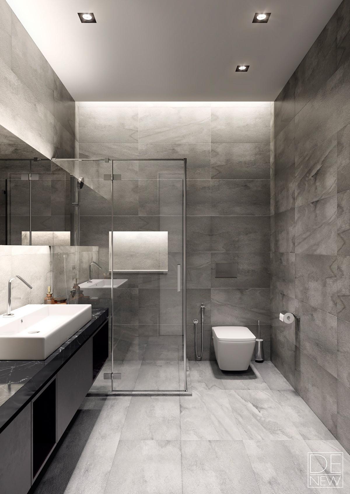 | modern gray bathroomInterior Design Ideas.