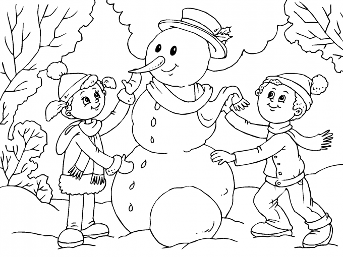 Ninos Construyendo Muneco De Nieve Para Imprimir Paracolorearnet