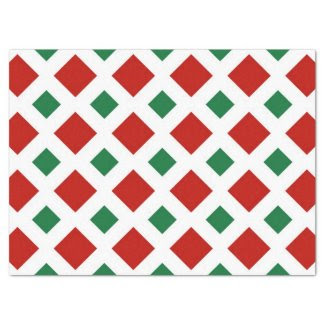 "Red and Green Diamonds on White Tissue Paper 17"" X 23"" Tissue Paper"