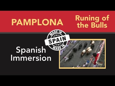 Learn Spanish- Running of the bulls, San Fermín,Pamplona (Spanish subtitles)