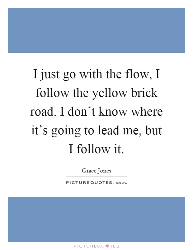 I Just Go With The Flow I Follow The Yellow Brick Road I Dont