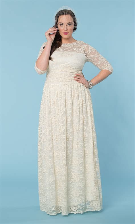 Plus Size Wedding Dress   Lace Illusion Gown   Kiyonna
