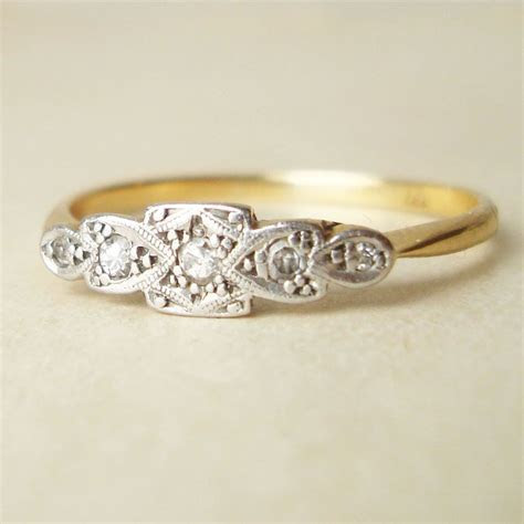 Art Deco 18k Gold Diamond Ring, Antique Diamond Platinum