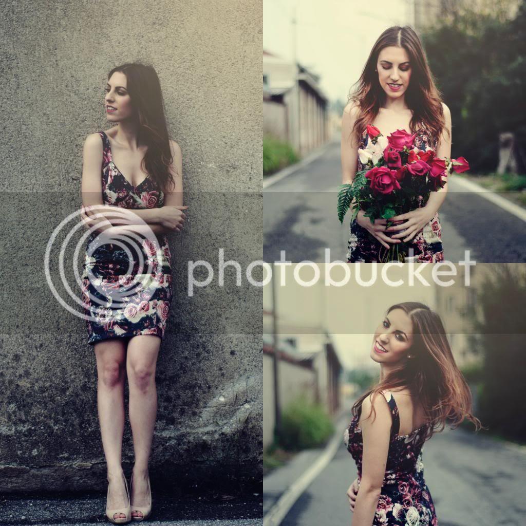 Zara Burgundy dark Roses Tube Dress Melograno a/w 13 Roberta Breda Photos