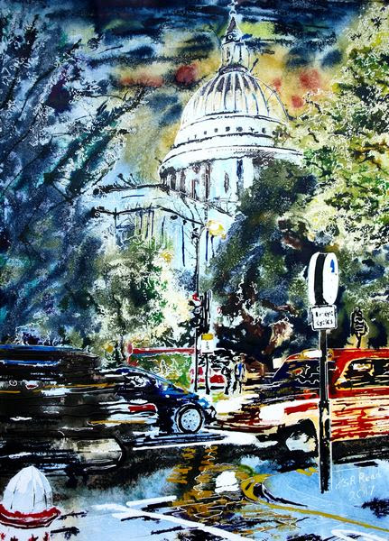 Meditating on a Painting of St Paul's Cathedral at night - Cathy Read Art