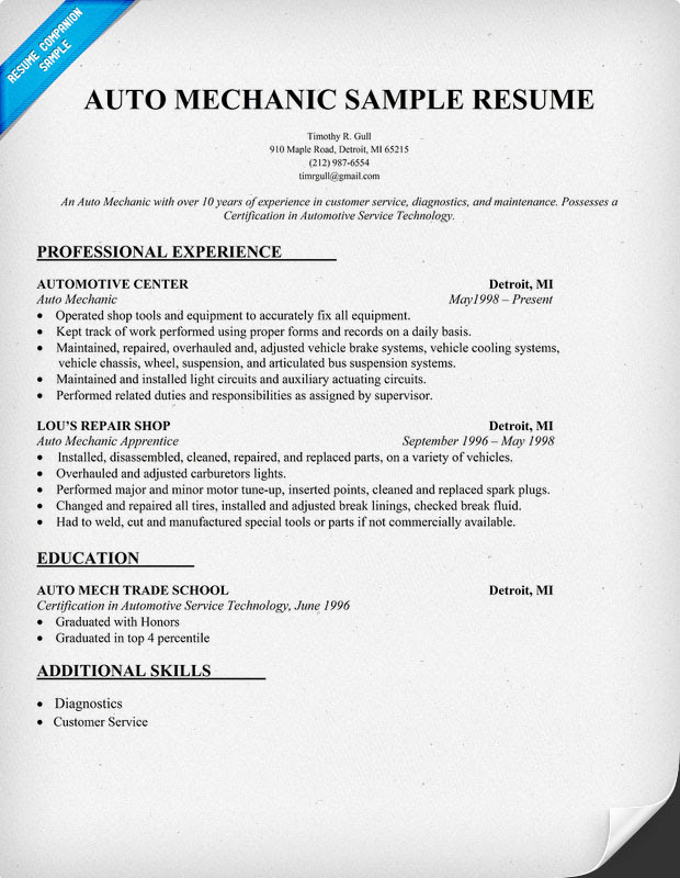 """Search Results for """"Printable Auto Mechanic Resumes ..."""