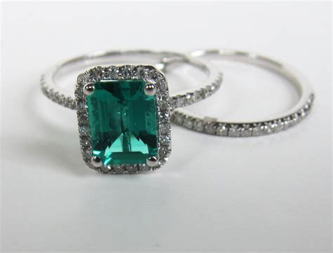 $575 Emerald Cut Emerald Engagement Ring Sets 14K White