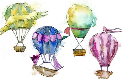 Watercolor holiday hot air balloon PNG set