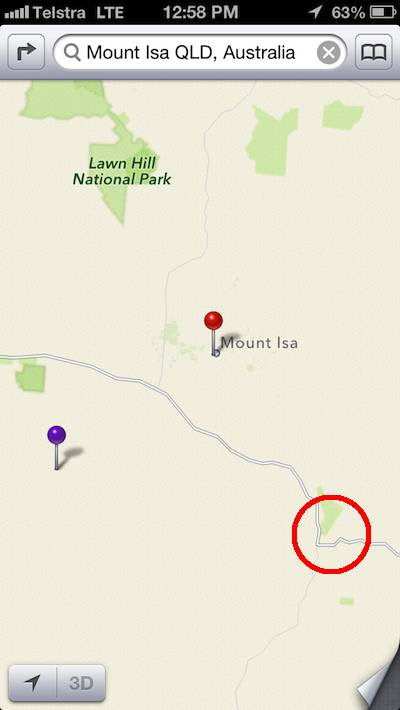 Mount Isa's location, according to Apple Maps