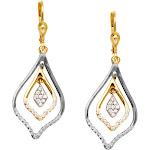 10K Two-Tone White and Yellow Gold Earrings Triple Dangle