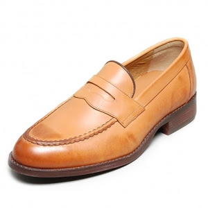 Men's Apron Toe Light Brown Leather Penny Loafers Shoes