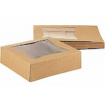Kraft Paperboard Popup Window Box - Pack of 10 Brown Kraft Paperboard Pop-Up Window Box, Pastry & Cake Bakery Boxes with Plastic Window, 8 x 8 x 2.5