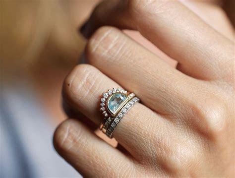Aquamarine ring, Half Moon Aquamarine Ring, Crescent Ring