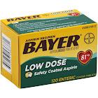 Bayer Aspirin Regimen Low Dose Safety Coated Tablets 120 ct Box