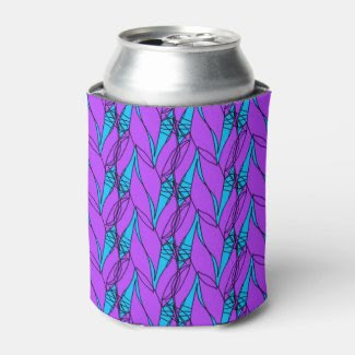 Can Cooler with Purple and Aqua Pattern