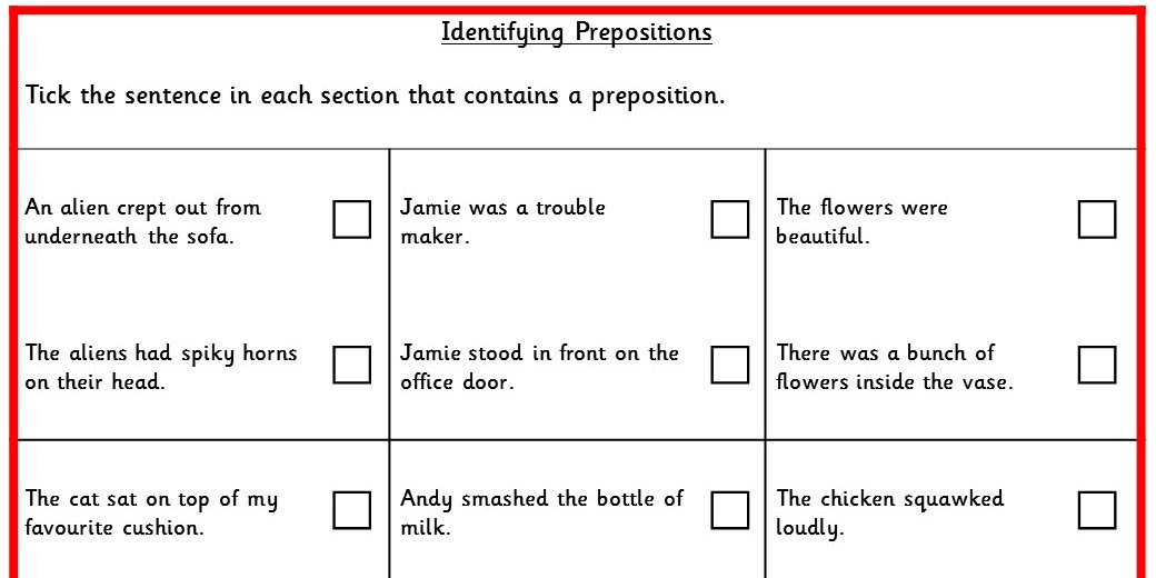 Identifying Prepositions KS2 SPAG Test Practice