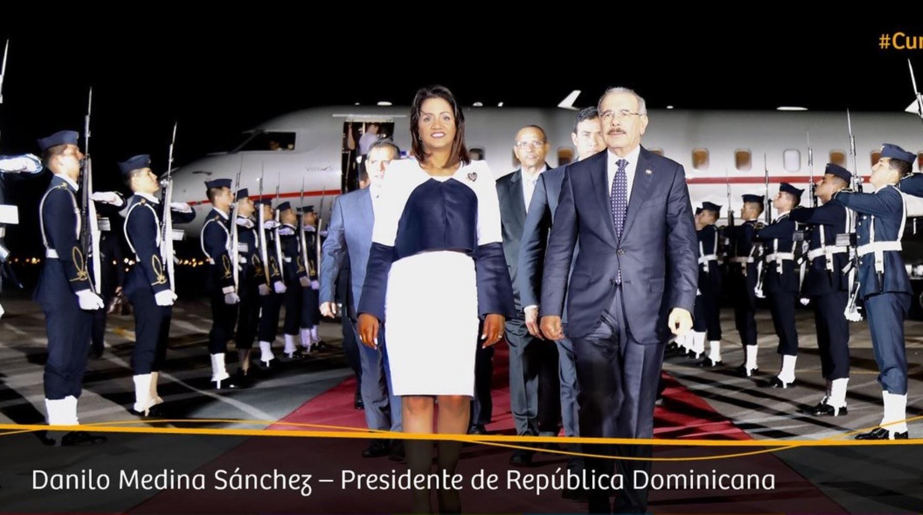 Llegada a Lima del presidente de República Dominicana, Danilo Medina.