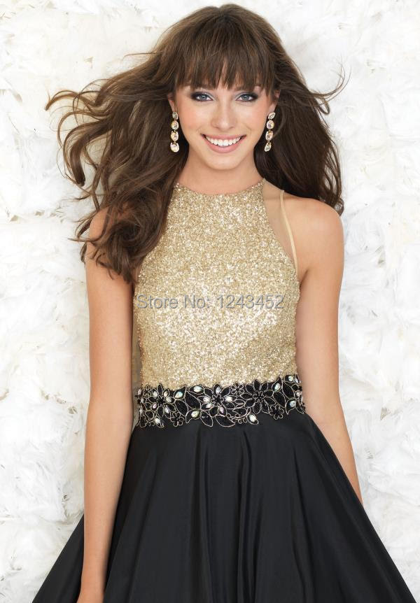 Gold and black evening dress
