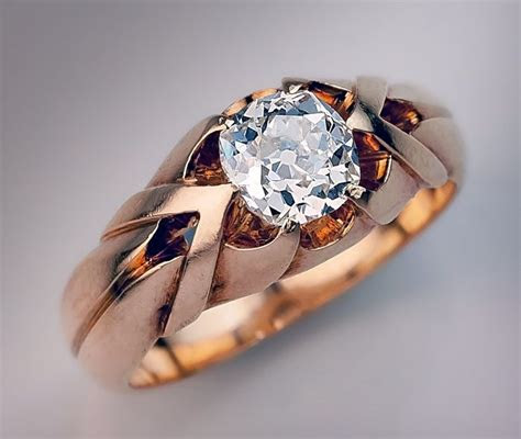 carat   cut diamond antique mens ring circa