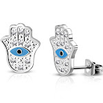 Stainless Steel Silver-Tone White Clear CZ Hamsa Hand Stud Earrings