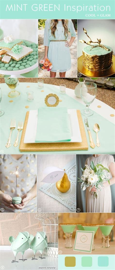 Mod Glam Wedding Inspiration: Mint Green and Gold   MINT