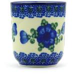 Polish Pottery Espresso Cup 2 oz Blue Poppies Pattern by Ceramika Artystyczna
