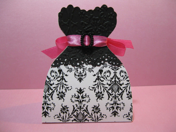 25 Black White or Black Pink Damask  Bride Wedding Dress Favor Boxes