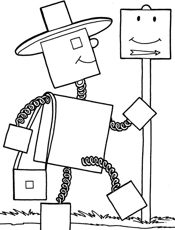 Easy Robot Out Lines Coloring Coloring Pages