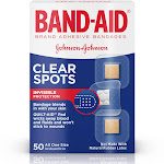 Band Aid Adhesive Bandages, Clear Spots - 50 count