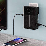 Aduro Surge Wall Charging Tower w/ 12 Outlets & Dual USB Ports Black