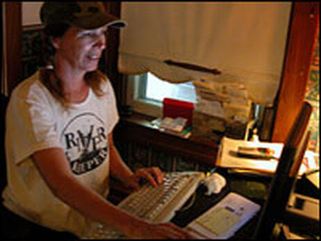 PJ Whiskeyman of Littitz, Pa., at her computer.