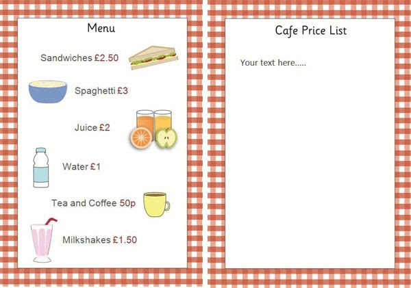 Editable Cafe Price List / Menu...Editable cafe menu / price list ...